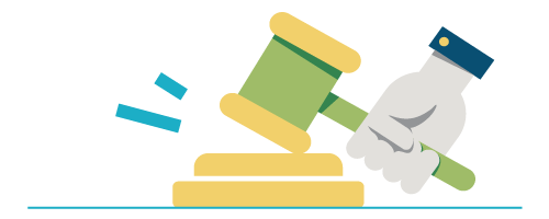 Hand banging a gavel graphic